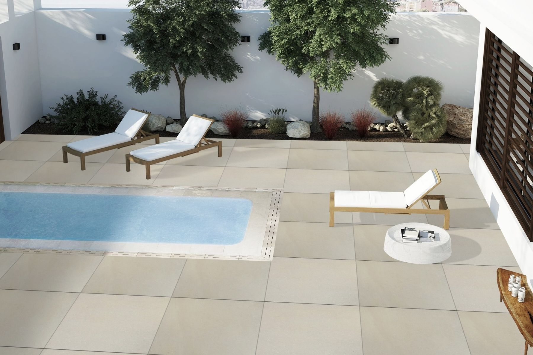 pool pavers in porcelain light cream ivory colour
